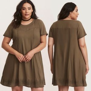 Torrid Olive Embroidered Challis Trapeze Dress